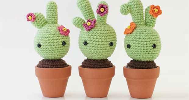 Décoration Cactus Opuntia au crochet - amigurumi fait main | 330x620