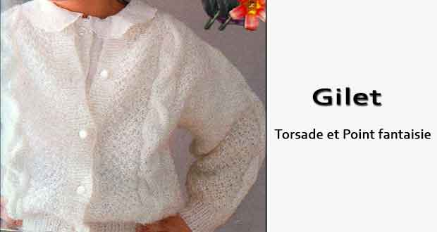 Gilet Torsade et Point fantaisie